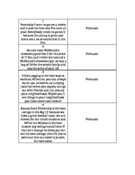 Author's Purpose Matching Sort Card Game