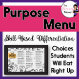 Purpose Menu of Activities Based on Bloom's, Differentiated, Common Core