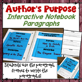 Author's Purpose Interactive Notebook Entry: Includes paragraph frames