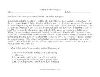 Author's Purpose {Minilessons, Sort, and Quiz}