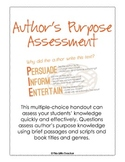 Author's Purpose Multiple-Choice Assessment for Grades 2, 3, 4