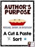 Author's Purpose (PIE) Cut and Paste Sort {Practice or Assessment}