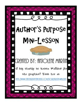 Author's Purpose P.I.E. Mini Lesson
