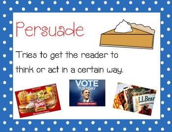 "Author's Purpose ""PIE"" Posters- Persuade, Inform, Entertain"