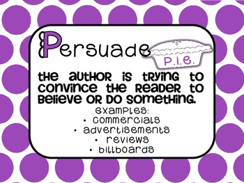 Author's Purpose {PIE} CCSS/TEKS Aligned