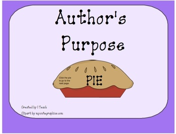 Author's Purpose -PIE ~ on the SMARTboard