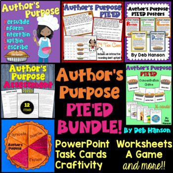 Teach your students to identify the author's purpose for writing. This author's purpose bundle includes many engaging activities. Five author's purpose terms are featured: persuade, inform, entertain, explain, and describe. Get PIE'ED in author's purpose!