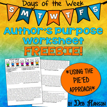 author 39 s purpose pie 39 ed worksheet by deb hanson tpt. Black Bedroom Furniture Sets. Home Design Ideas