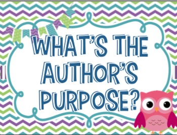 Author's Purpose Colorful Owl Themed Posters!