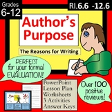 Author's Purpose PPT, FORMAL EVALUATION lesson plan, worksheet and MORE!
