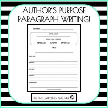 Author's Purpose Paragraph Writing Worksheet