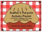 Author's Purpose Passages, Graphic Organizer, and Activities