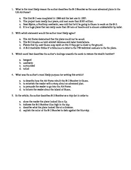 Author's Purpose Passages and Questions