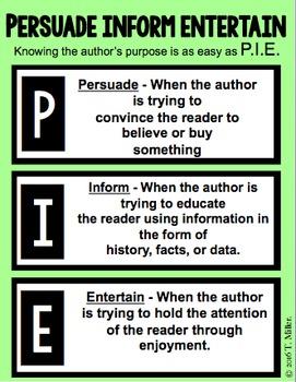 Author's Purpose- Persuade, Inform, and Entertain