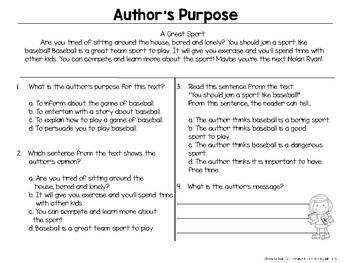 Author's Purpose: Persuasive Text Freebie