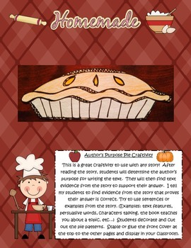 Author's Purpose Pie Reading Comprehension Craftivity