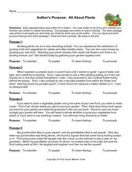 Author's Purpose:  Plants