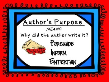 Author's Purpose Posters - Bulletin Board Set