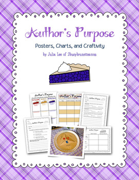 Author's Purpose Posters, Charts, and Craftivity