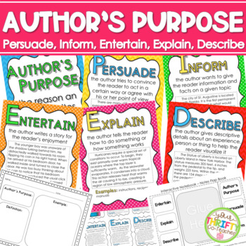 Author's Purpose PIE'ED Posters by Deb Hanson | Teachers Pay Teachers