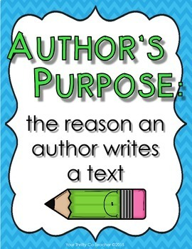 Author's Purpose Posters Mini Cards Worksheet