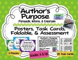 Author's Purpose Posters, Task Cards, Foldable, Test: Persuade Inform Entertain