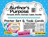 Author's Purpose Posters, Task Cards: Persuade Inform Entertain Explain Describe