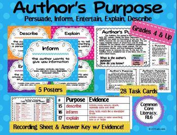 Author's Purpose Unit Bundle: Persuade Inform Entertain Explain Describe