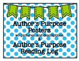 Author's Purpose Posters with graphics and  Reading Log