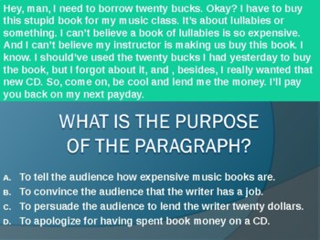 Author's Purpose 25-Slide PowerPoint Practice Reading ELA Common Core CCSS LAFS