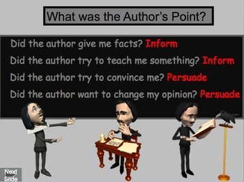 Author's Purpose PowerPoint Lesson and Interactive Quiz