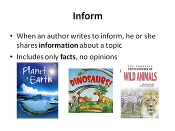 Author's Purpose Powerpoint Presentation and Cloze Notes
