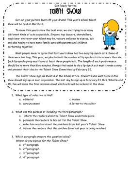 Author's Purpose Practice Sheets