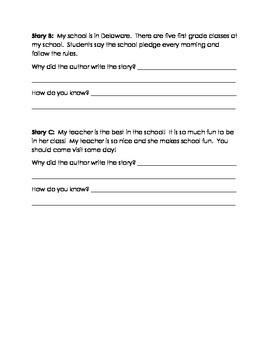 Author's Purpose Practice Worksheet