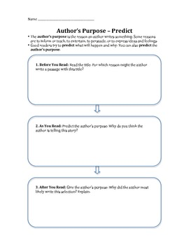 Authors Purpose & Prediction Worksheet