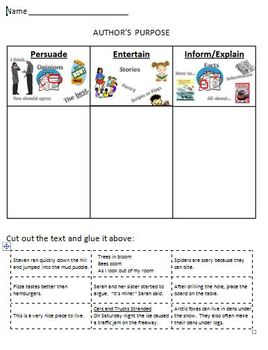 Authors Purpose Printable Worksheet Cut and Sort by Jennifer Widden