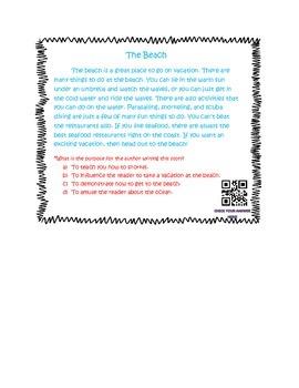 Author's Purpose QR code task cards