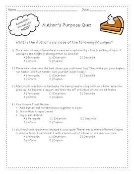 Author's Purpose PIEED Quiz