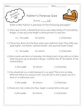 Author's Purpose PIE Quiz