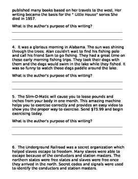 Author's Purpose Quiz