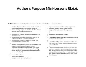 Author's Purpose RI.6.6. Mini Lessons
