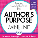 Author's Purpose Unit with reading passages, worksheets, and graphic organizers