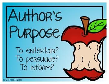 Author's Purpose Reading Passage, Graphic Organizer and Mini-Anchor Chart