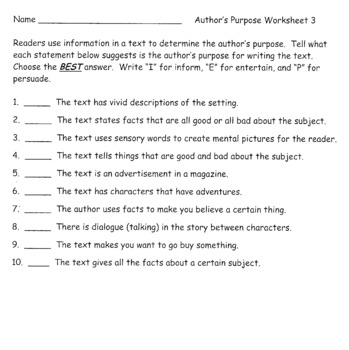 Author's Purpose - Reading Skills - Lesson Materials and Activities