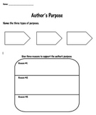 Author's Purpose & Reasons Graphic Organizer