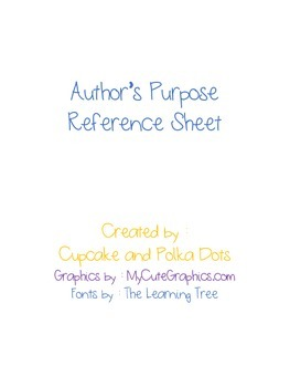 Author's Purpose Reference Sheet