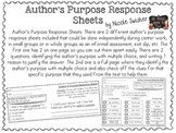 Author's Purpose Response Sheets