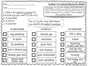 Author's Purpose Response Sheets