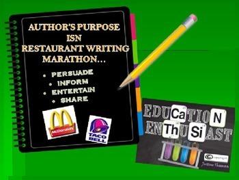 Author's Purpose Restaurant Writing Marathon