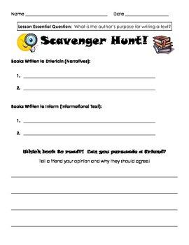Author's Purpose - Scavenger Hunt Recording Sheet